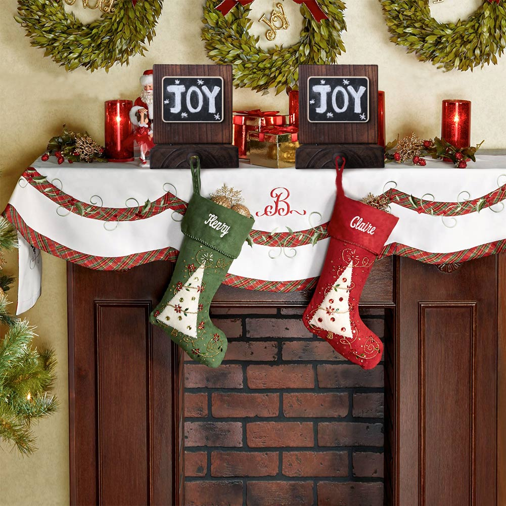 wooden christmas stocking holder for mantle fireplace chalkboard stocking hanger - Christmas Stocking Holders For Fireplace