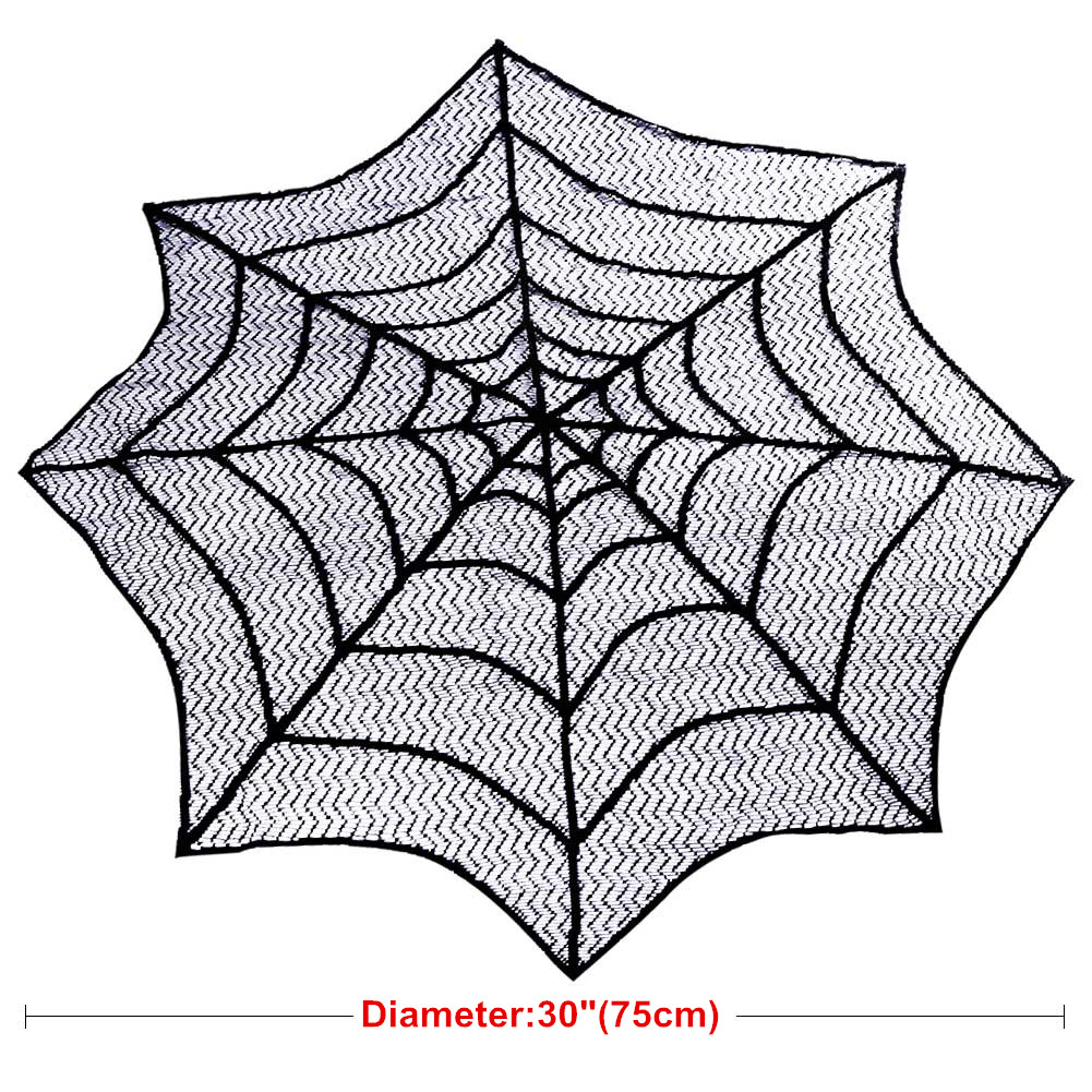 10×Black Spider Web Halloween Table Toppers Cloth Christmas Spooky ...