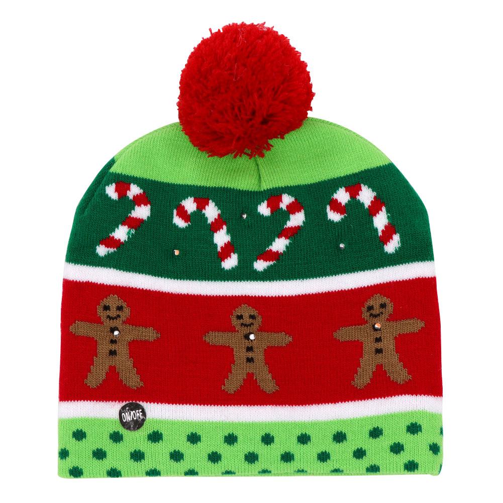 LED Christmas Hat Warm Protective Cap Kid Christmas Tree Pattern ...