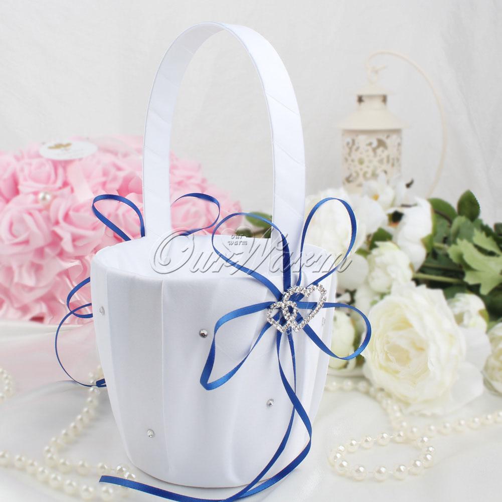 2pcs Satin Flower Girl Baskets Heart Diamond Wedding Party Supplies