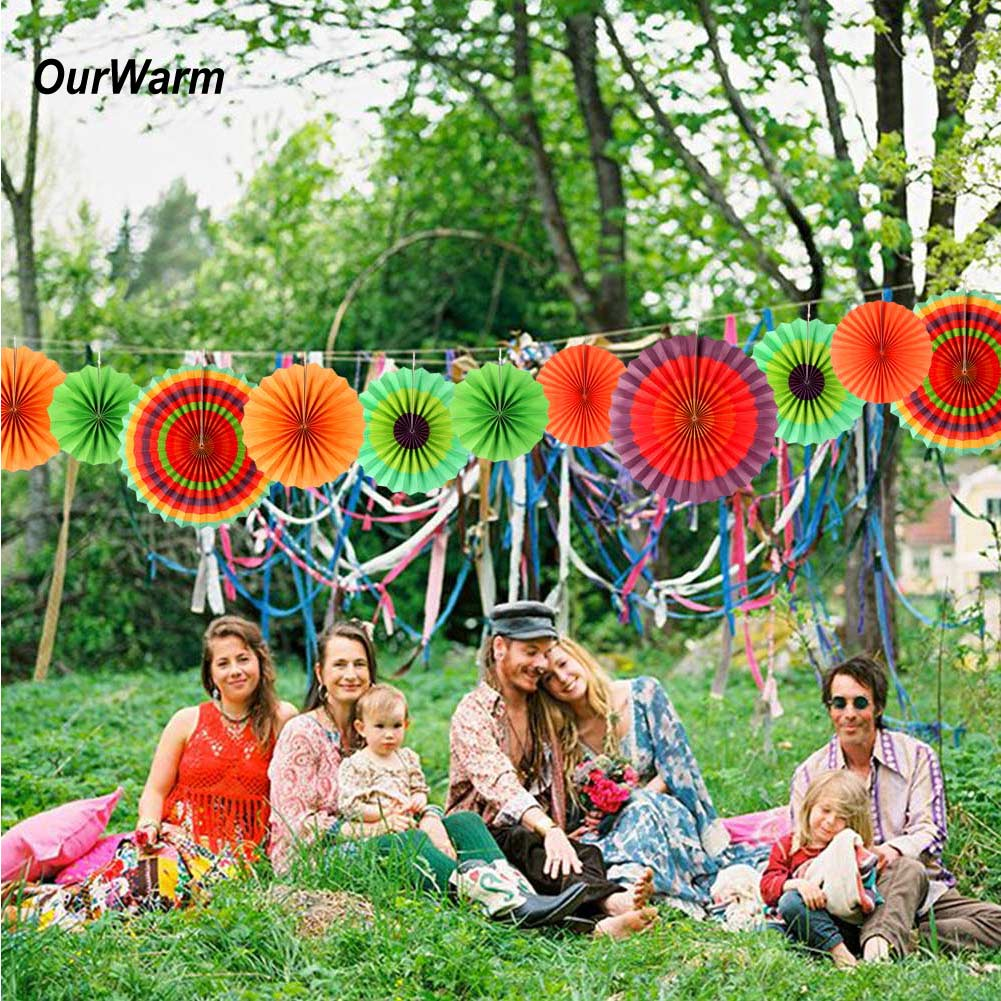 Details about 6 PCS Paper Fans Mexican Fiesta Fan Backdrop DIY Hanging  Craft Party Supplies