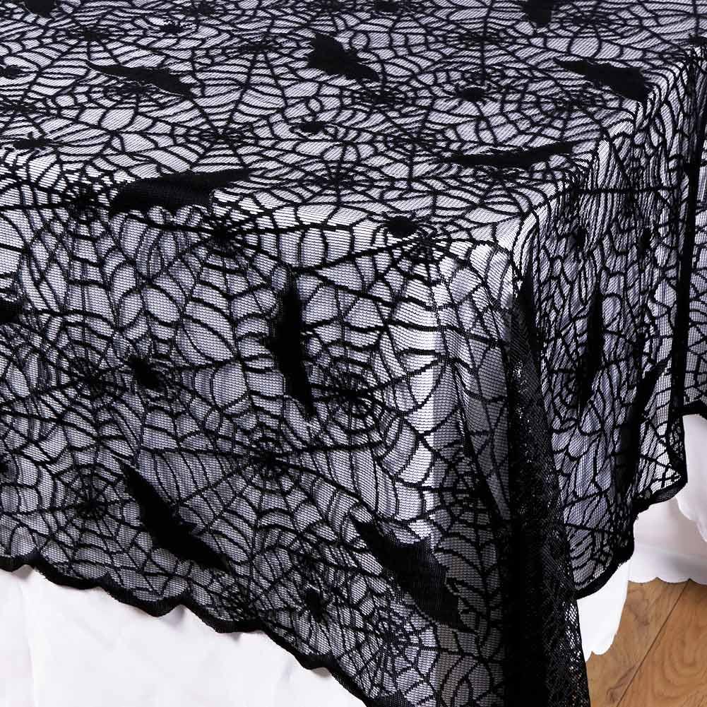 Round U0026 Rectangle Black Lace Spider Web Bats Tablecloth Halloween Table  Decor