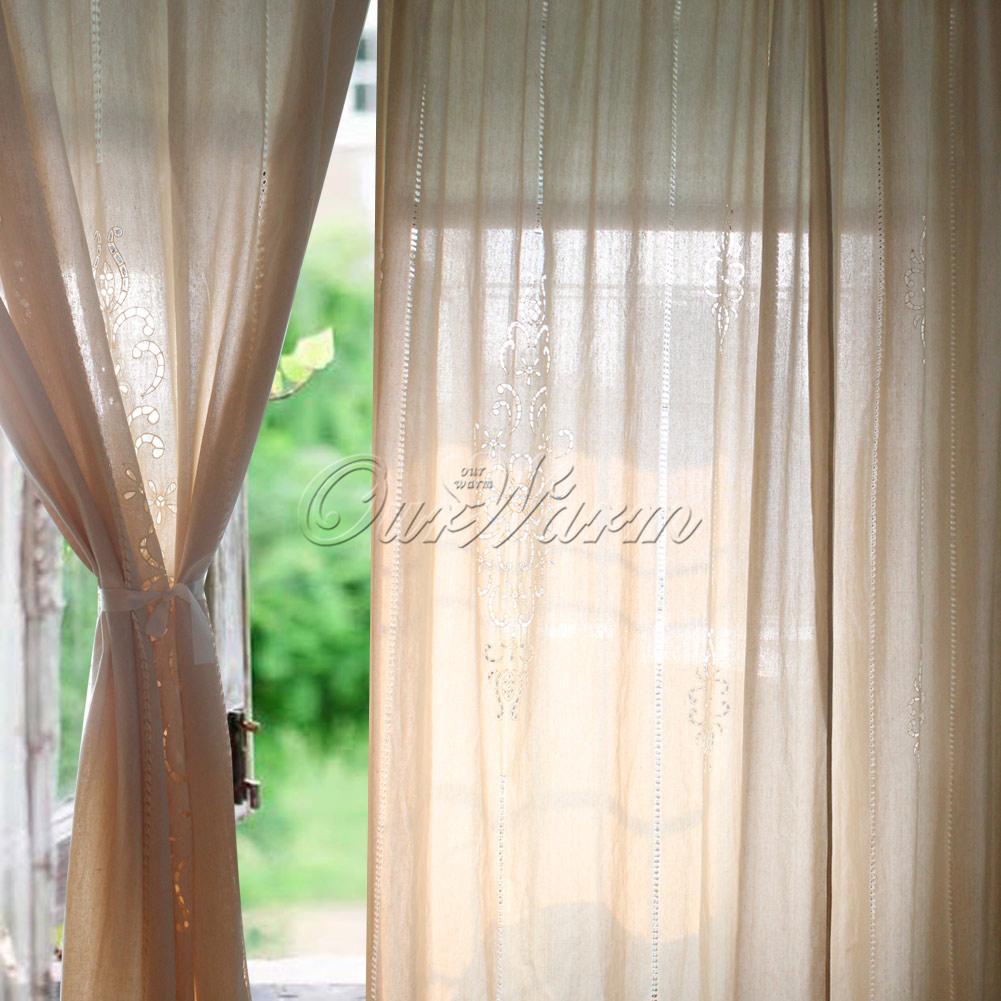 Cotton lace curtains - Vintage Lace Curtains Vintage Cotton Linen Crochet Curtain Embroidered Hollow Pattern Lace Curtains