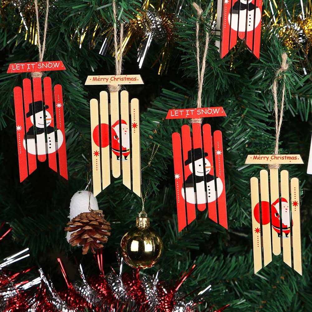Wow Christmas.6x Red Christmas Wooden Sled Ornament Snow Sled Wow Holiday