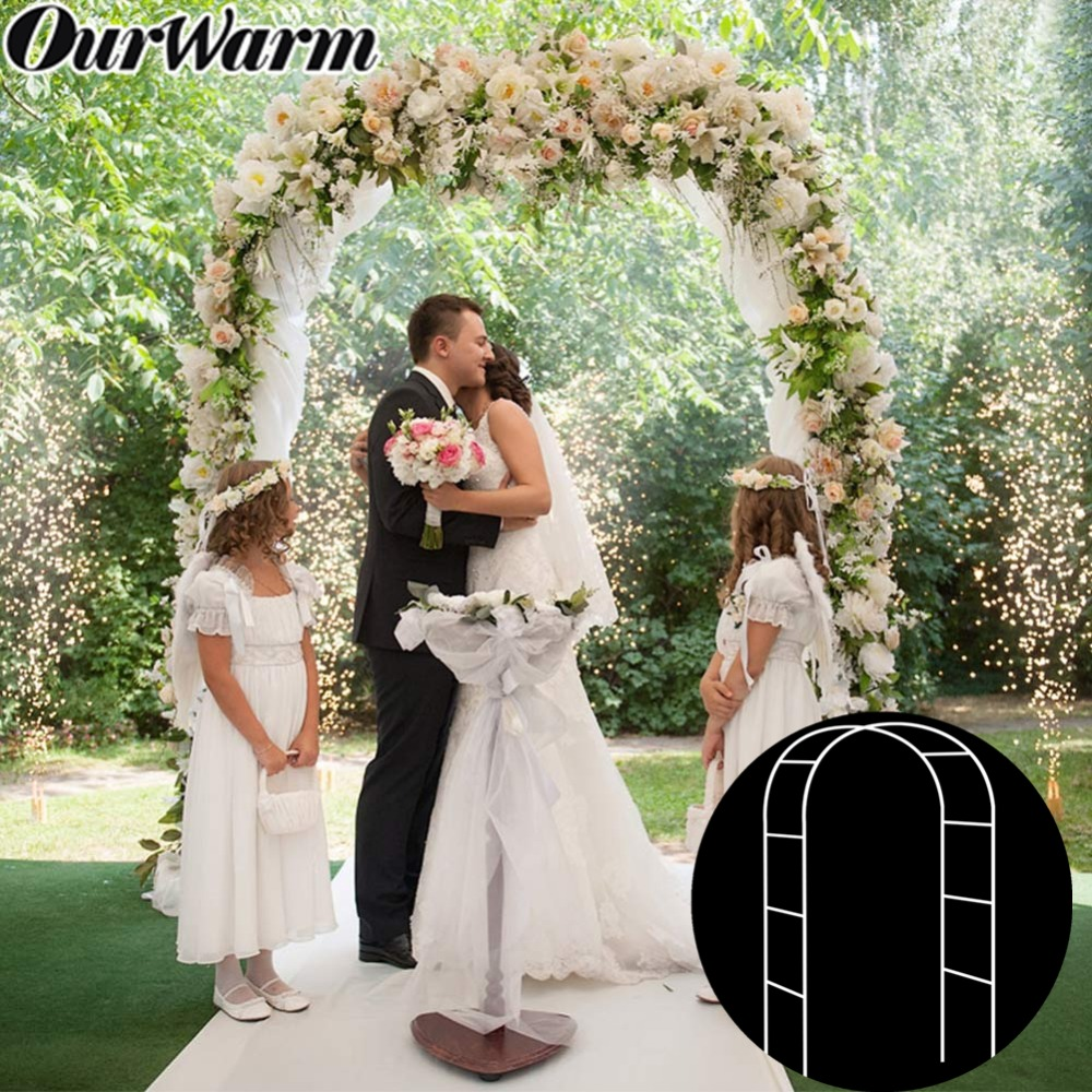 Outdoor Wedding Arch: White Metal Wedding Arch Pergola Garden Backdrop Stand