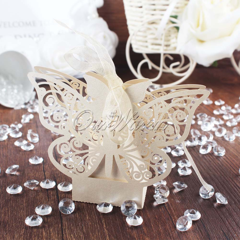 10pcs Paperboard Butterfly Gift Bag Candy Box Garden Wedding Party ...