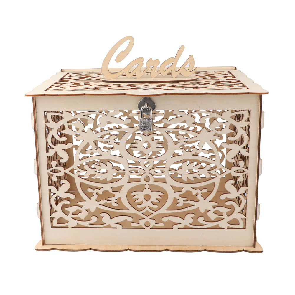 Wedding Gift Post Box: Wooden Wedding Card Post Box With Lock Collection Gift