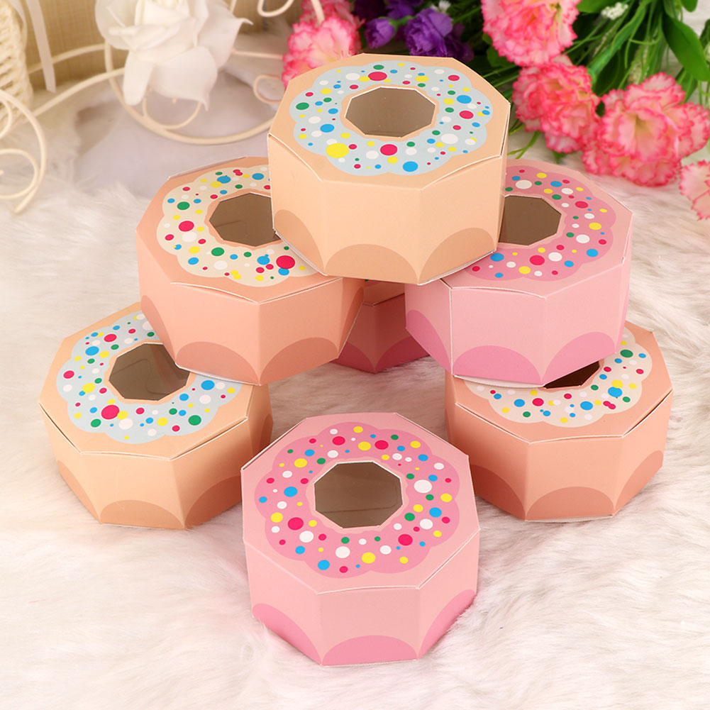 Details About 10 Donut Chocolate Candy Box Kids Birthday Party Hexagon Gift Box Wedding Favors