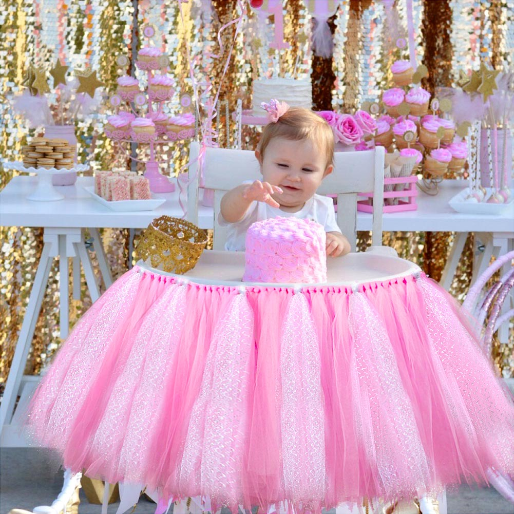 Adjustable tutu tulle skirt wrap for high chair baby for Baby 1st birthday decoration