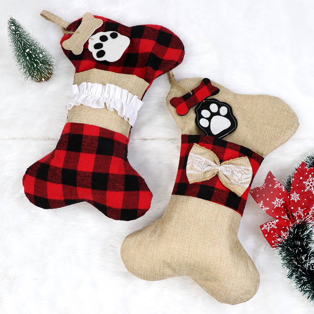 Christmas Stockings For Dogs.Details About Pet Christmas Stockings Dog Buffalo Plaid Fireplace Hanging Xmas Tree Ornament