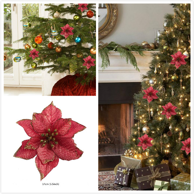 xmas artificial glitter flower christmas tree ornament high quality decorations