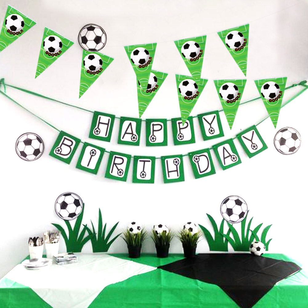 Football Soccer Themed Happy Birthday Party Flag Banner Bunting Decorations