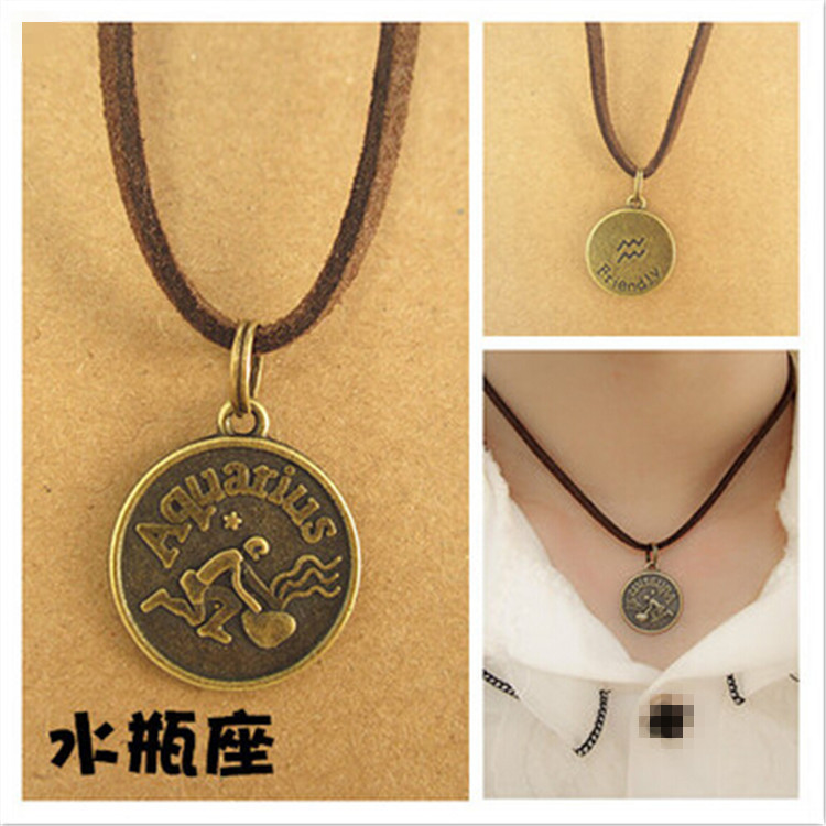 Details About Leather Choker Necklace Zodiac Sign Aquarius Charm Jewelry Birthday Gift For Her