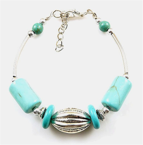 NEW Free shipping Jewelry silver Pendant jade turquoise bead DIY bracelet S300D