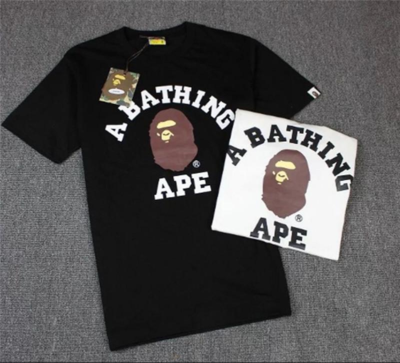 Men//Women BAPE A Bathing Ape Head Short Sleeve Tee Cotton Round Collar T-shirt