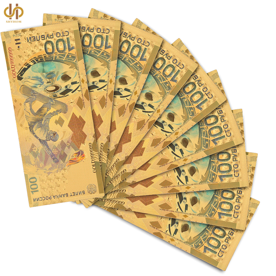 Gold Foil Plated Russia 100 Ruble Souvenir Gold Banknote Paper Money Collection