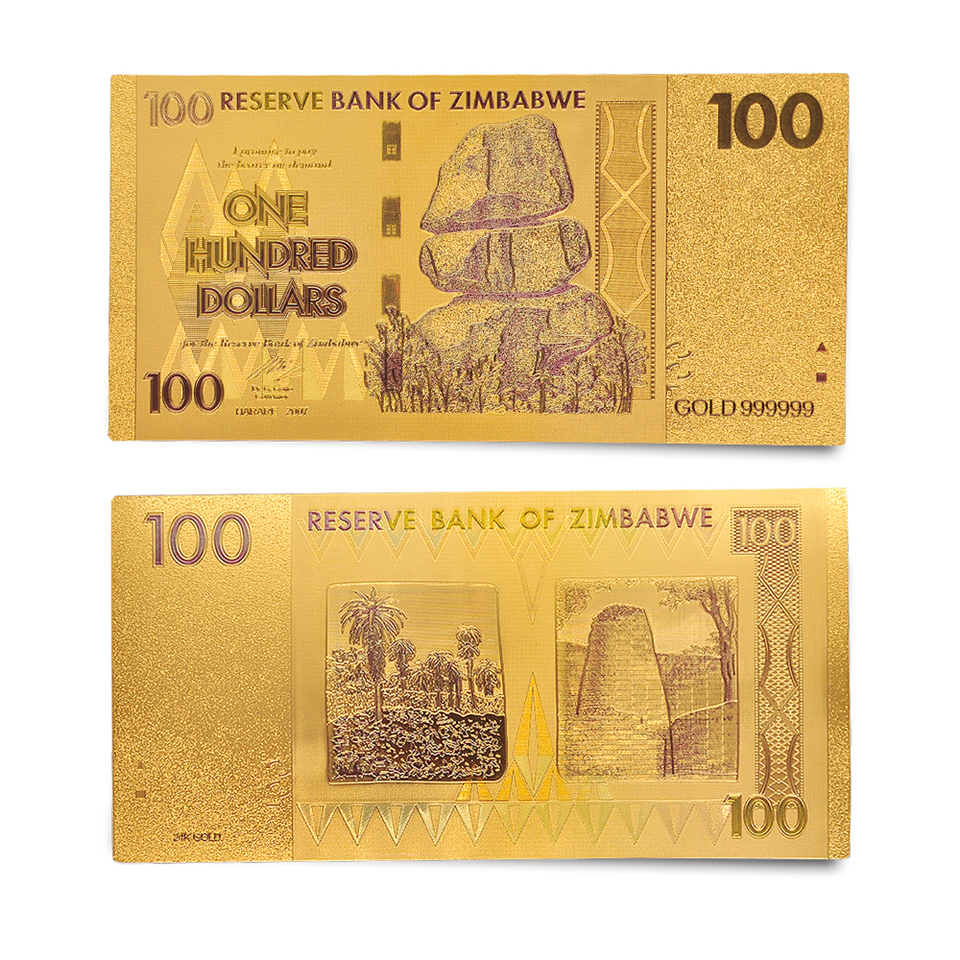 Zimbabwe Z$ 100 Dollar Paper Banknote Gold Plated Money Note With PVC Display