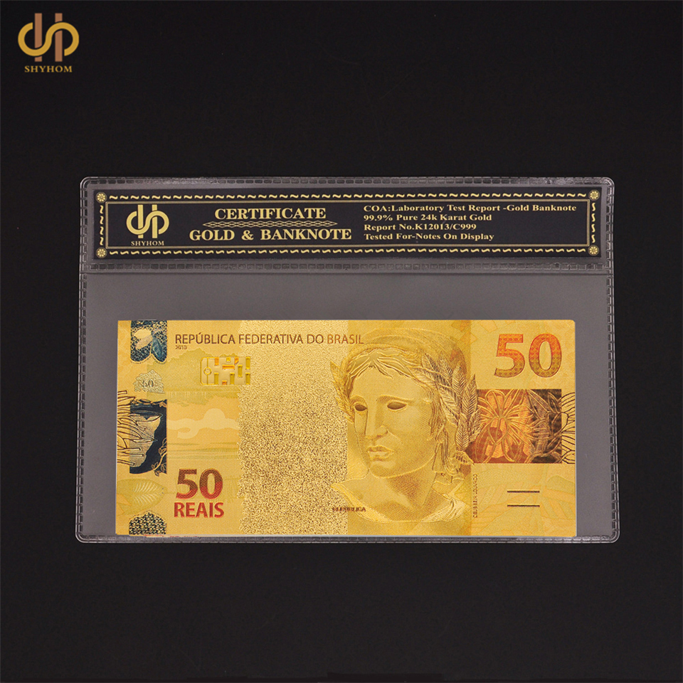 Waterproof Gold Banknote Euro 50 Note Currency Bill Collectible With COA Frame