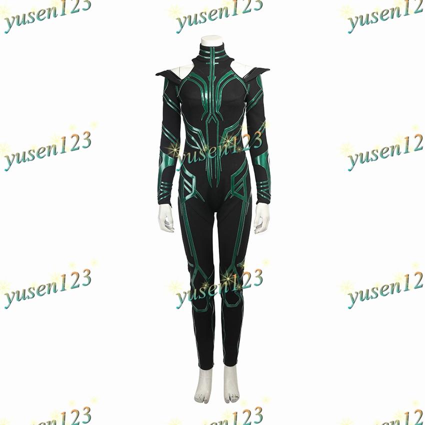 THOR3 Ragnarok Trail Death Hela Green Halloween Cosplay Costume Jumpsuit Cloak