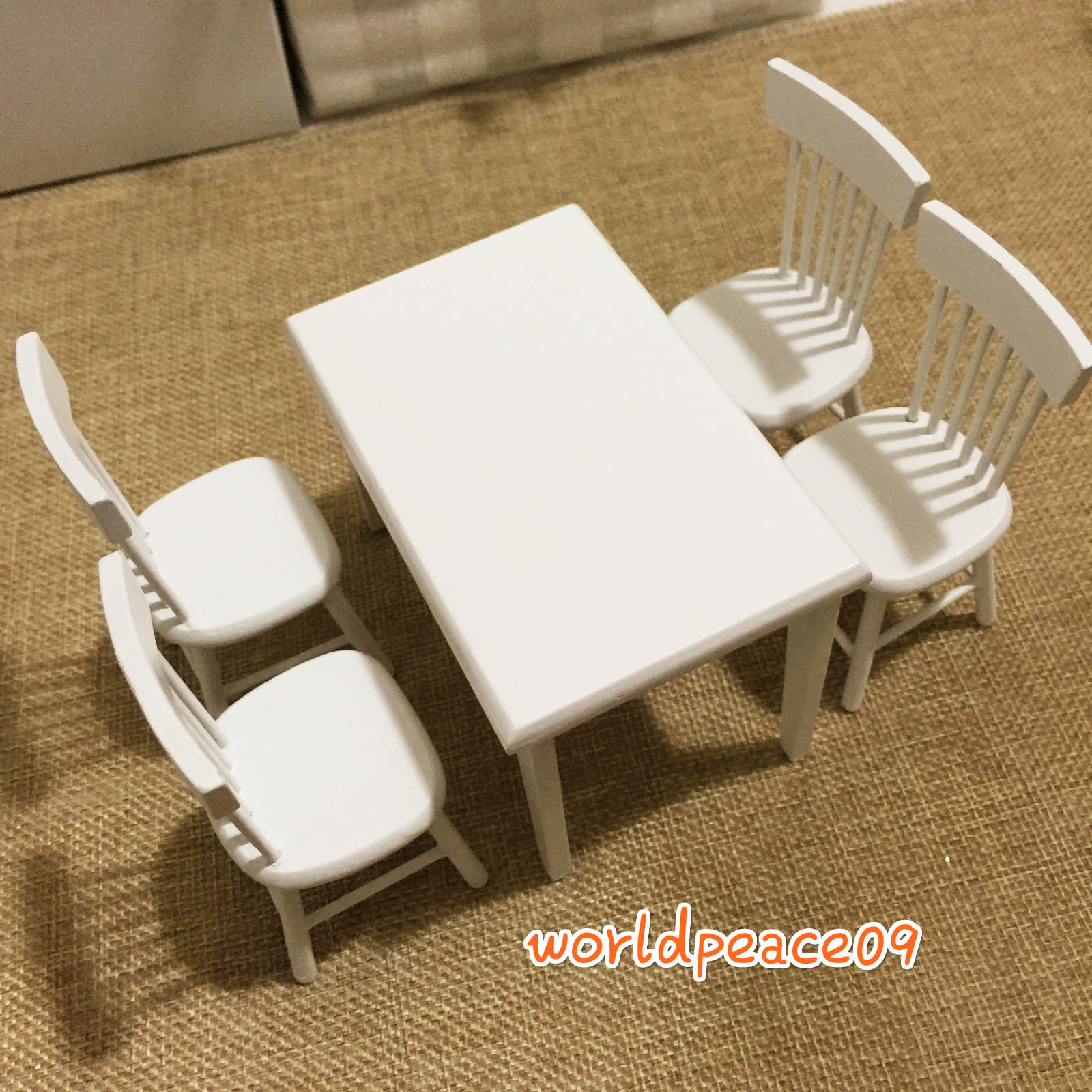 5Pcs Set Dollhouse Miniature White Wooden Dinner Table Chair Scale