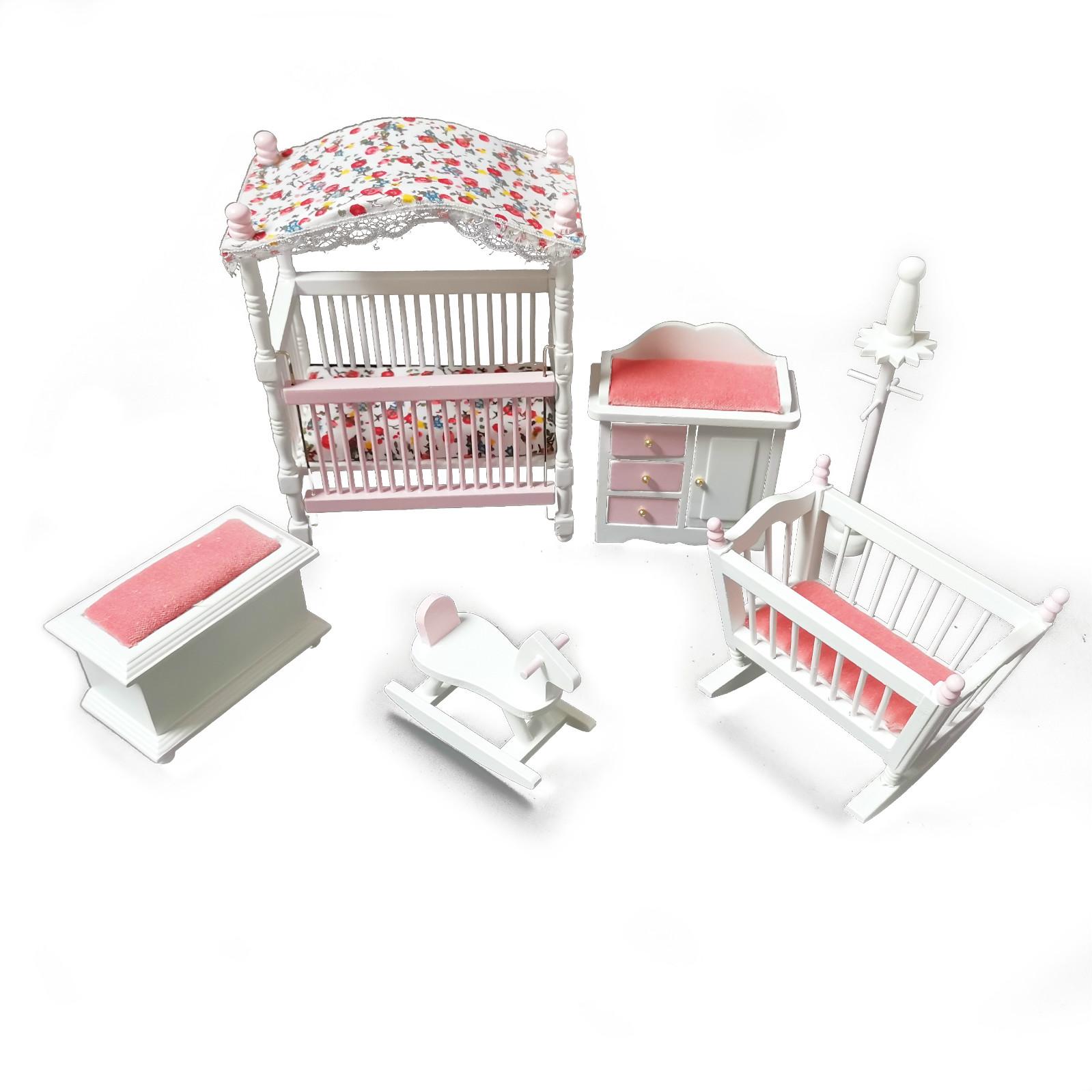 Dollhouse 6Pcs Kids Baby Room Furniture Set 1:12 Miniature Accessories