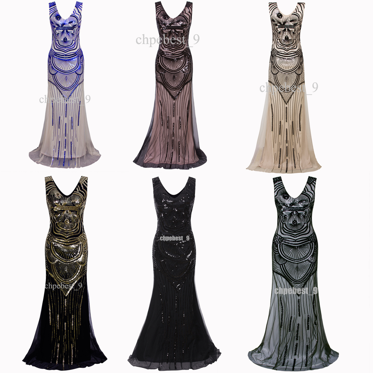 1920s Long Maxi Prom Sequin Mermaid Bridesmaids Formal Party Evening ...