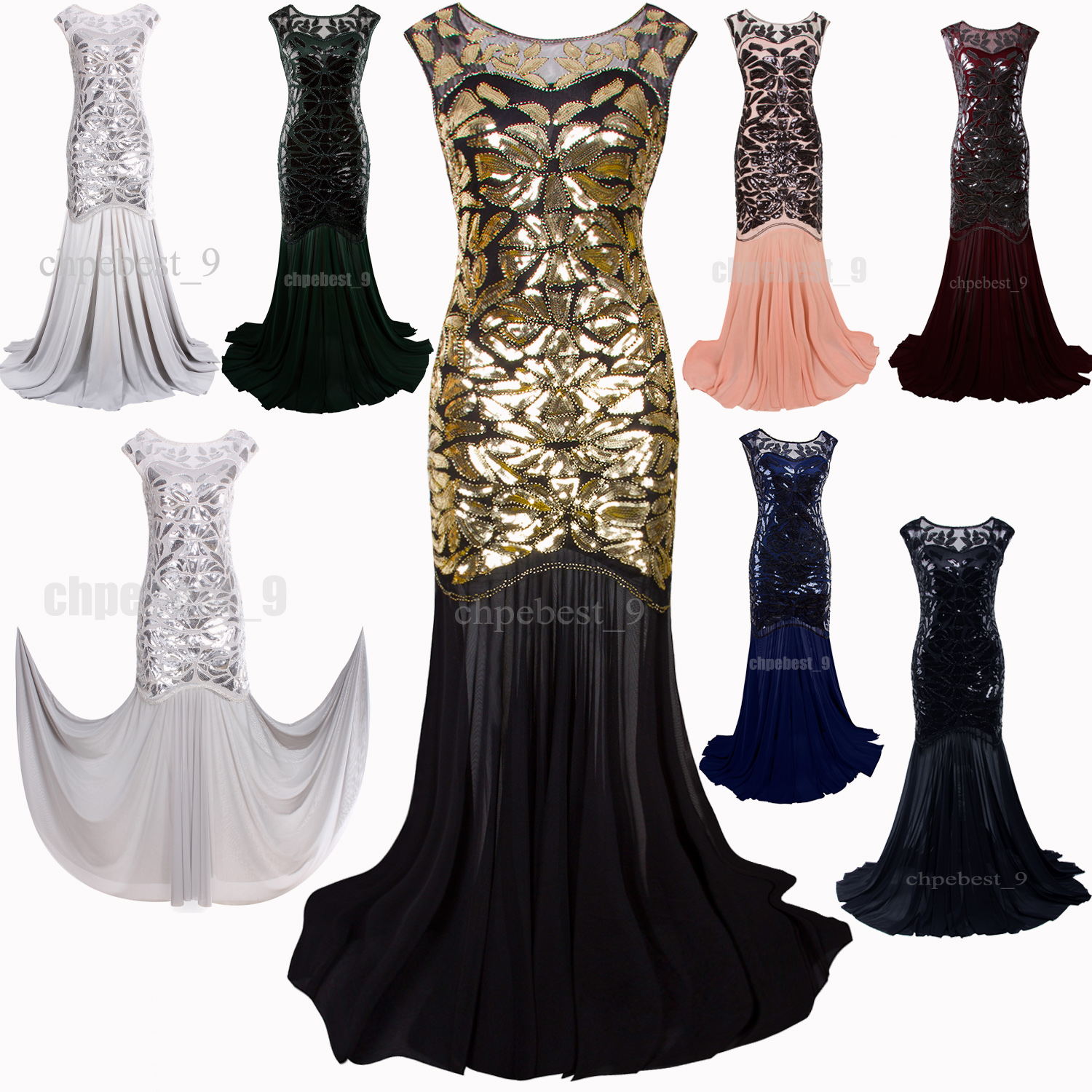Prom Gown 1920s Flapper Dress Party Long Evening Great Gatsby ...