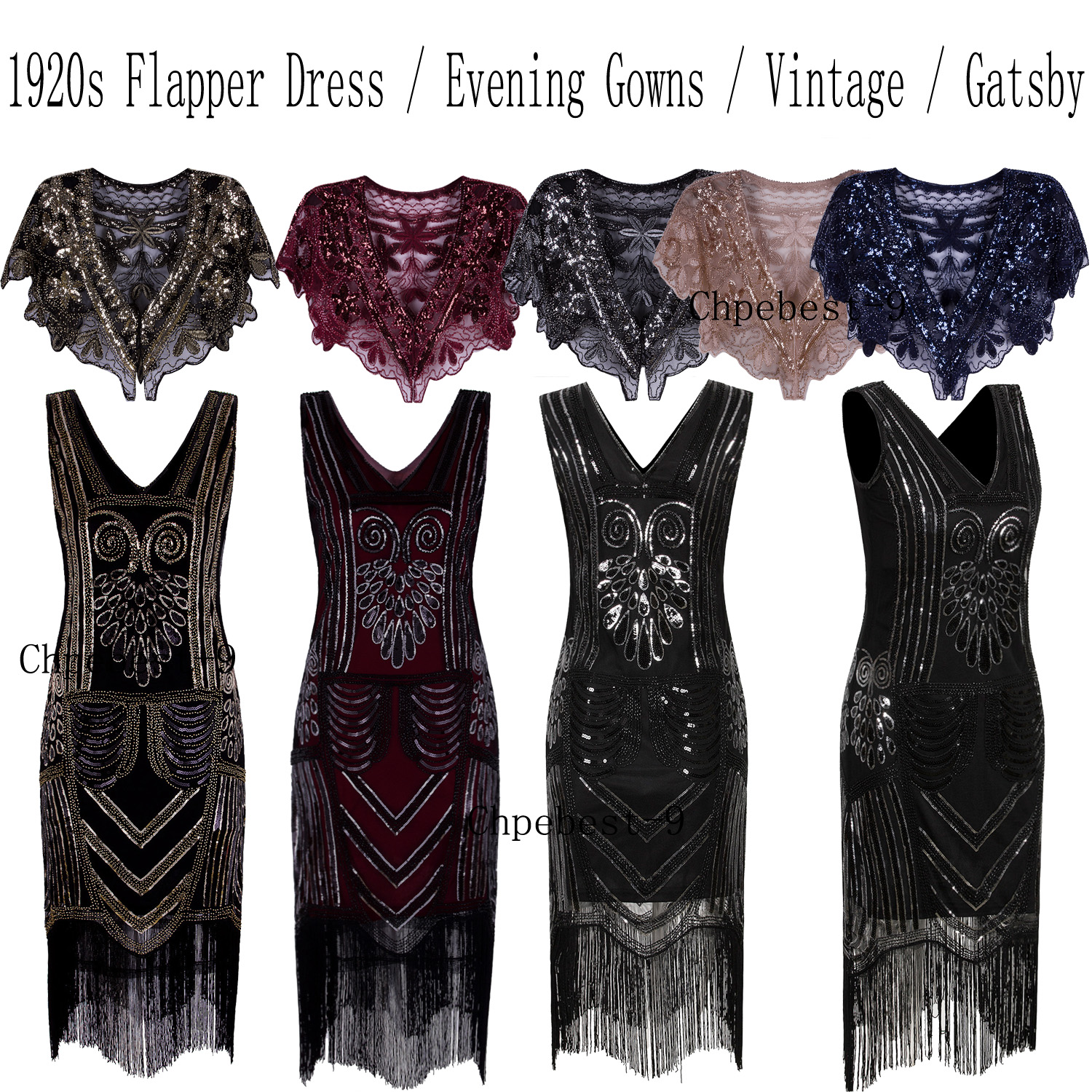 9ad71b8952d7 Evening Bridesmaid Dress Great Gatsby 1920s Flapper Party Prom Gown Dresses  UK Size 4 6 8 10 12 14 16 18