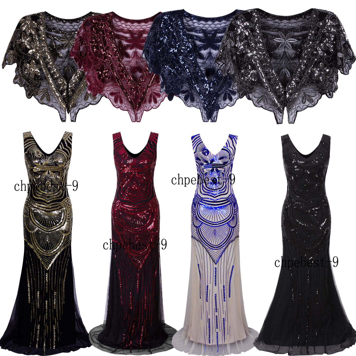 Details about Long Evening Dresses Wedding Gown Bridesmaids Prom 20s Womens  Clothing Plus Size