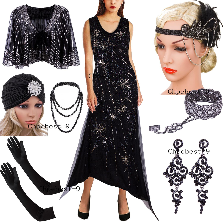 d725f3e6817 Details about Vintage 1920s V Neck Flapper Dress Sequins Beaded Irregular  Long Evening Dresses