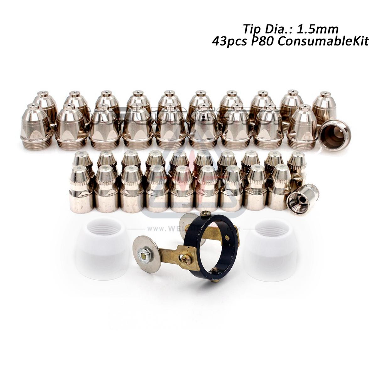 50pcs Nozzle Tips 1.3mm for P-80 P80 Plasma Cutting Torch LGK63 LGK80 LGK100