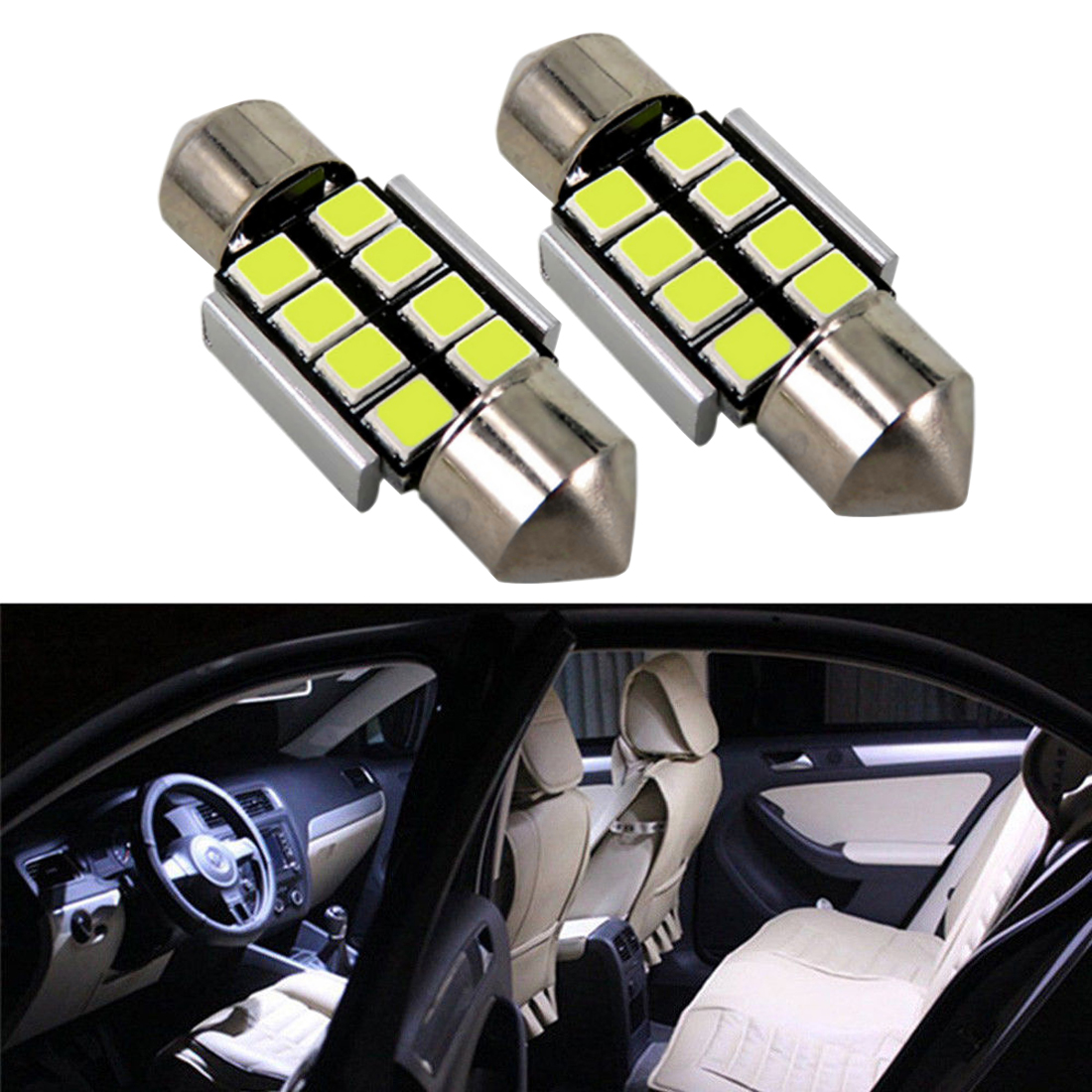 2 x 36mm 2835 Festoon Canbus 12SMD LED Car Interior Dome Map Light Bulb Lamp EXT