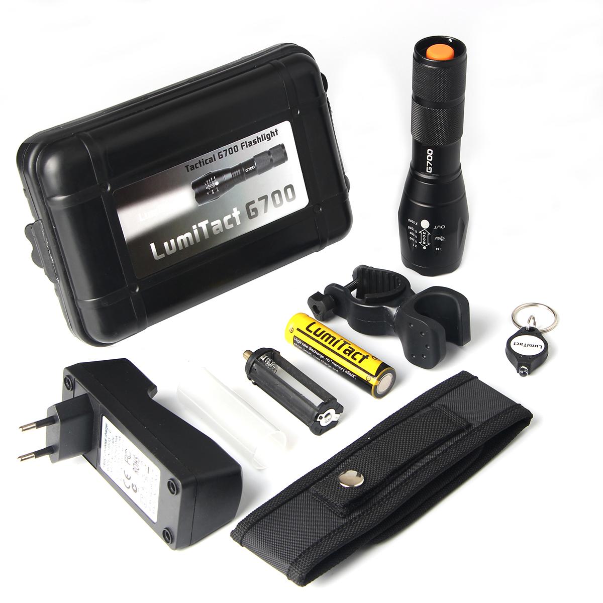 Inklusive 2600mah Batterie Taschenlampe Led Lumitact G700 Extrem Hell 3000 Lumen CREE Taktische Taschenlampen Wiederaufladbare Aufladbar Tragbarer Zoombar Fackel f/ür Camping Wandern und Notf/älle