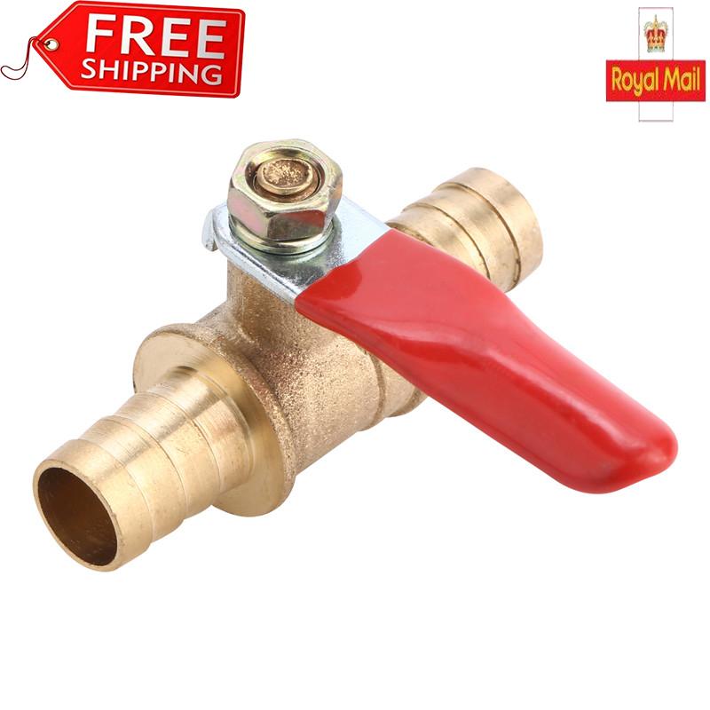 Hose Barb Inline Brass Water//Air Gas Fuel Line Shut-off Ball Valve 6//8//10//12mm