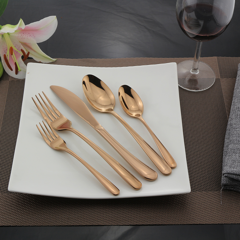 rose gold flatware set 5pcs silverware 18 10 stainless steel eating utensils 608807508936 ebay. Black Bedroom Furniture Sets. Home Design Ideas