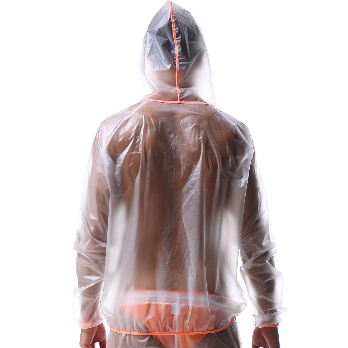 Mens Transparent Jacket Raincoat Clubwear Waterproof Zipper Fashion Suit New