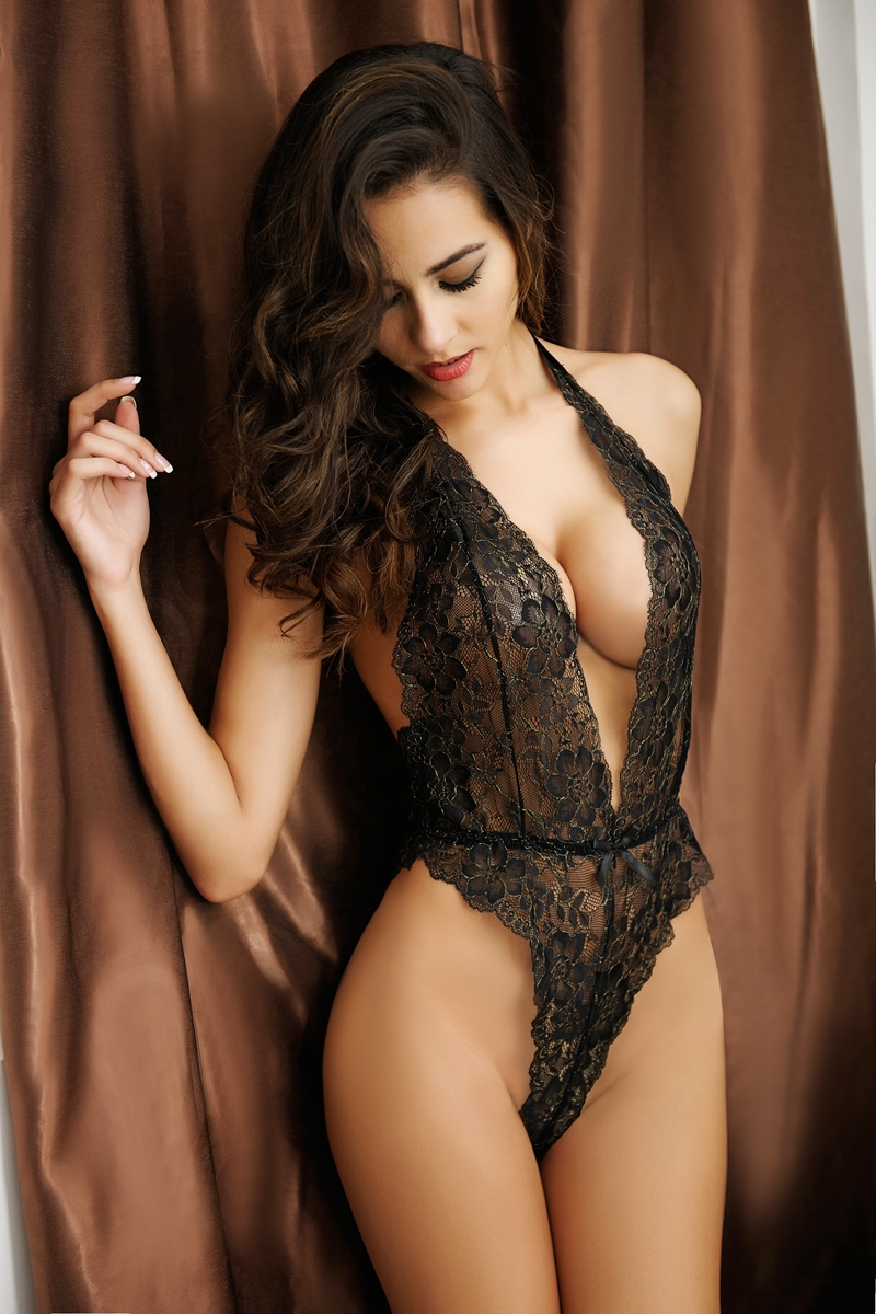 Womens Sexy Lingerie Teddy Deep V Halter Lace Bodysuit With Eyes ...