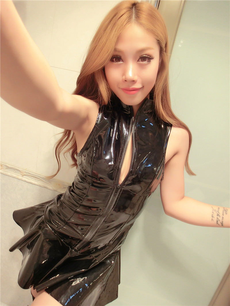 Sexy Women Fancy Dress Hot Dance Mini Skirt Wet Look Pvc
