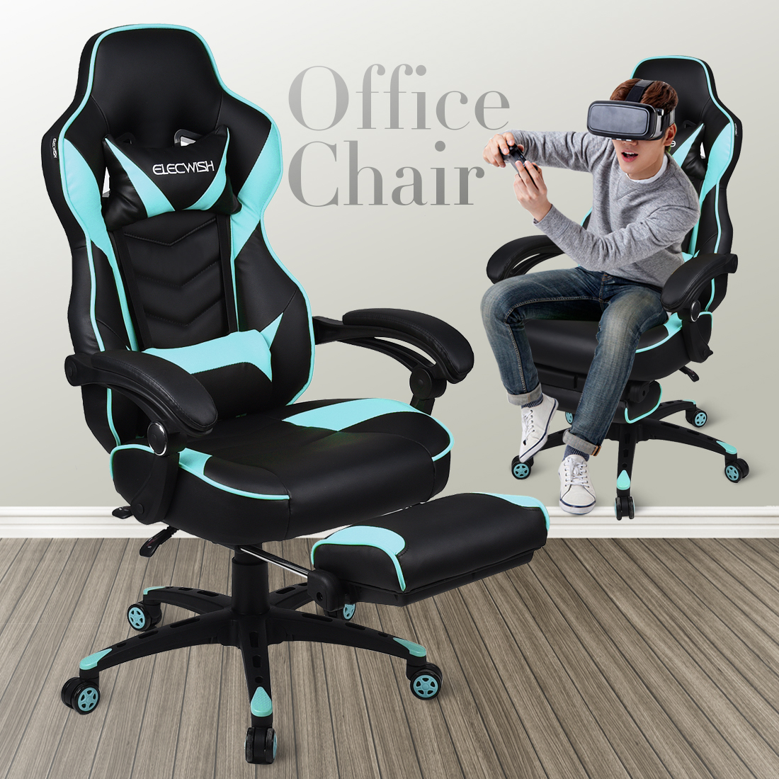 Exceptionnel Details About Racing Car Gaming Chair Adjustable Recliner Swivel PU Leather  Office Desk Seat