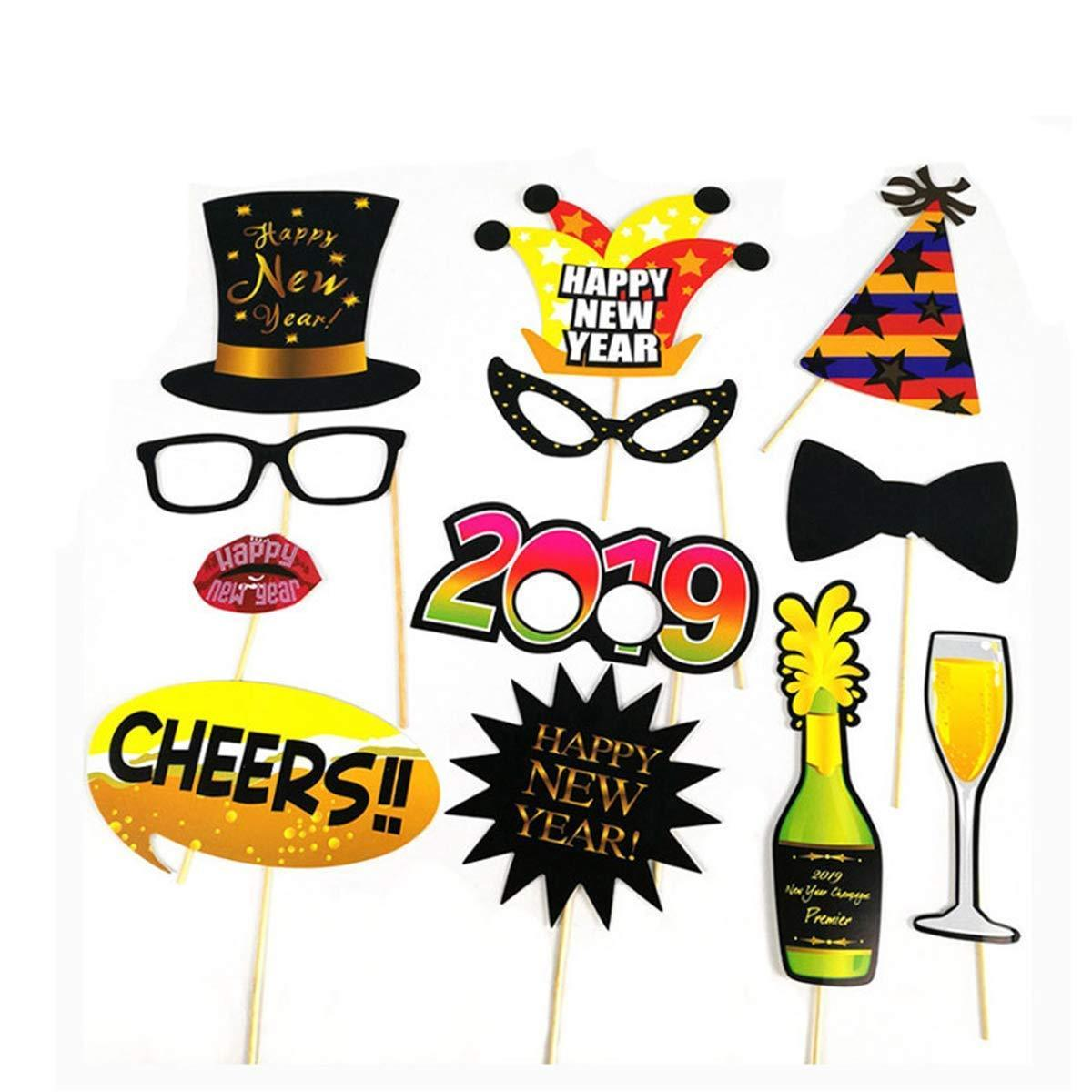 2019 Happy New Year Photo Booth Props Party Decor Selfie Kit