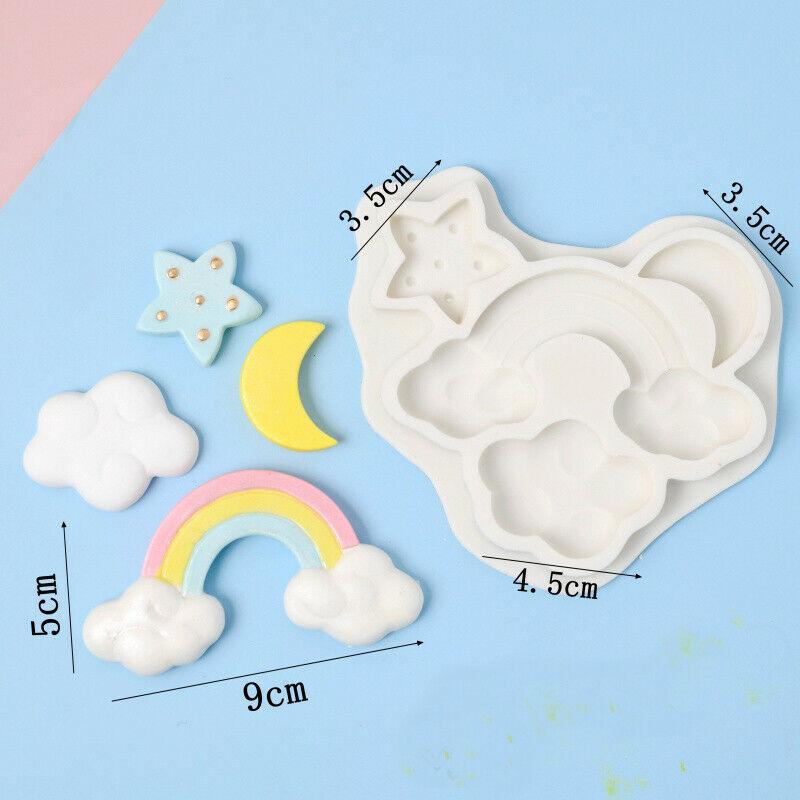 Rainbow Cloud Star Moon Silicone Fondant Mould Cake Sugarcraft Decor Icing Mold
