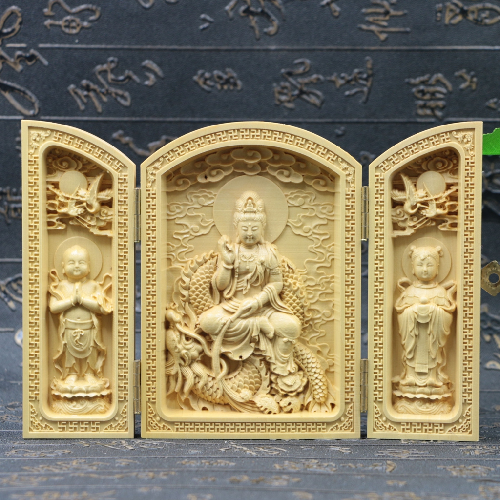 Chinese boxwood handmade carved three dragon kwan yin open box sk28