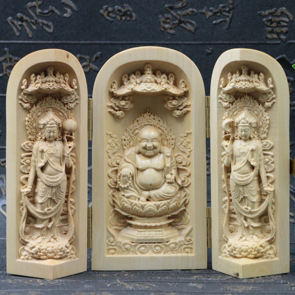 Chinese boxwood handmade carved three buddhism open box sk04 a ebay