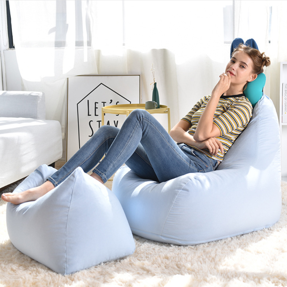 Details About Large Bean Bag Chair Cover Kids R Sofa Lounger With Backrest Footstool