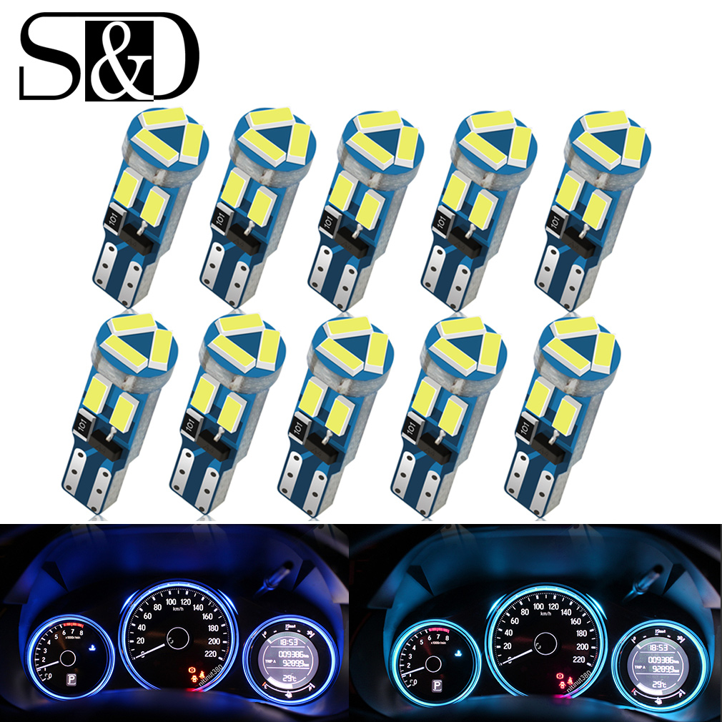 D-Lumina 10-Pack T5 74 37 27 17 2721 W3W LED Bulbs Canbus Error Free,3030 3-SMD Chips For Car Interior Dash Indicator Lights Gauge Cluster Dashboard Instrument Panel Light Lamps Bulb,Amber