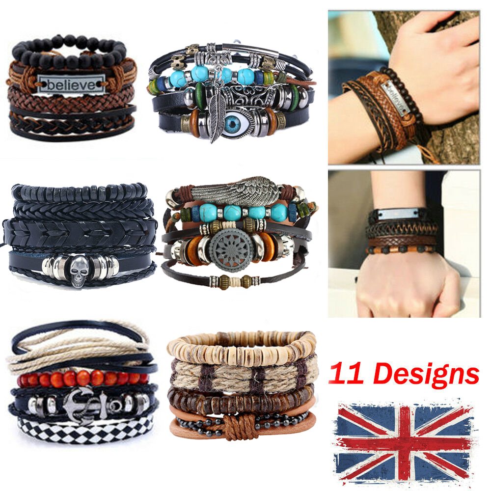 Men Surfer Genuine Real Leather Bracelet Braided Beads Wristband Clasp Wrap Gift