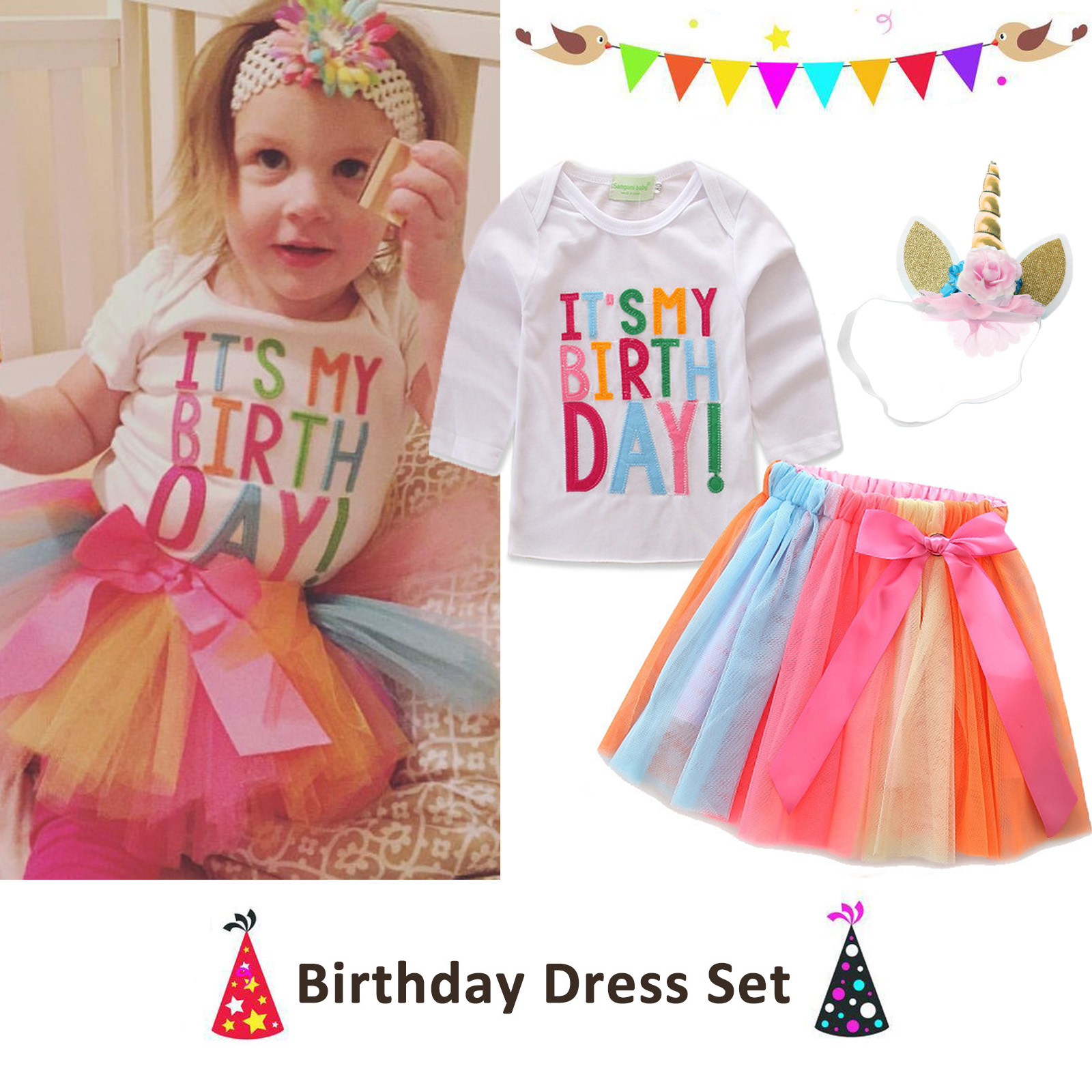 Details About Kids Baby Girls Birthday Party Tutu Tulle Skirt Dress Princess T Shirt Outfit UK