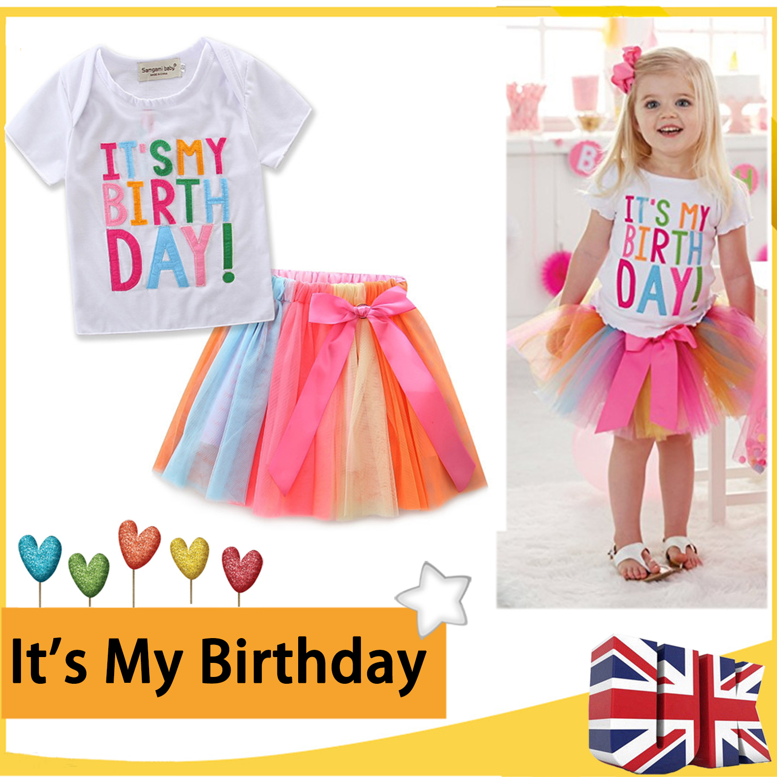 Details About Its My Birthday Party Dress Toddler Kids Girls T Shirt Cake Tutu Skirt Outfits