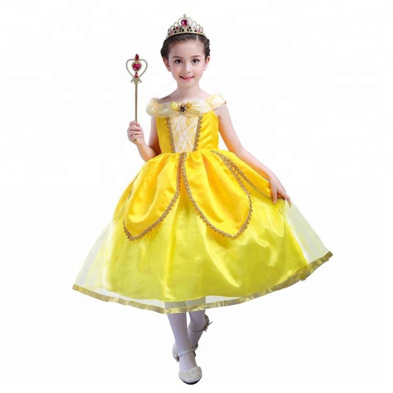Princess Belle Costume Beauty And The Beast Dresses Girls Party