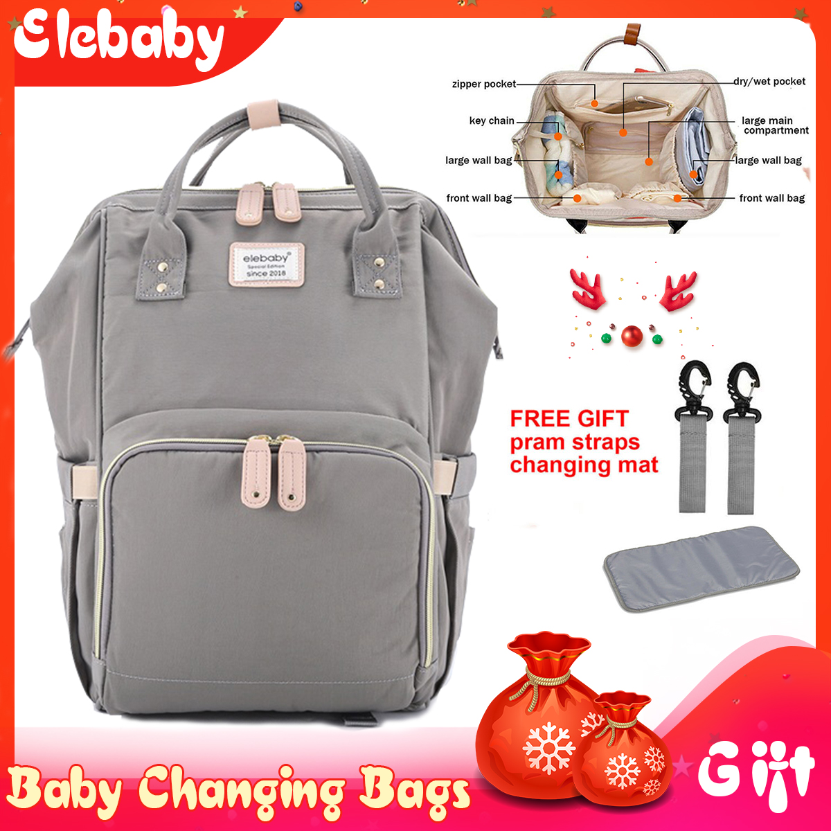 Mummy Baby Changing Bag Diaper Nappy Rucksack Backpack with with Strap